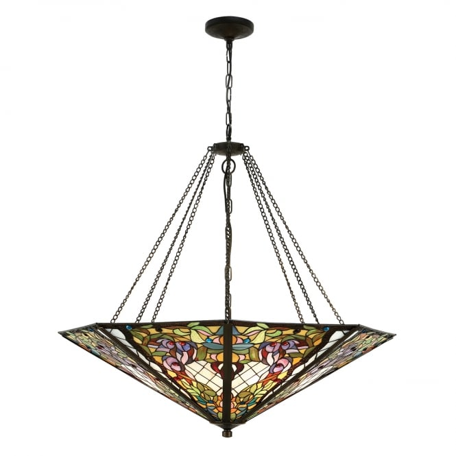 Kensington Tiffany Collection ANDERSON mega Tiffany stained glass uplighter ceiling pendant