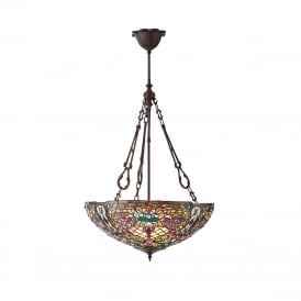 ANDERSON Tiffany stained glass uplighter ceiling pendant - large