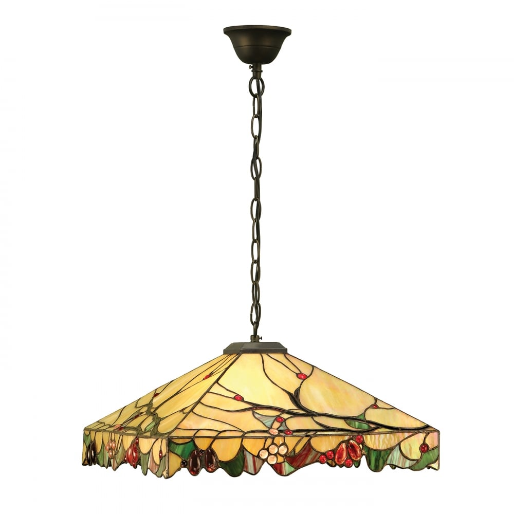 Arts And Crafts Style Tiffany Ceiling Pendant Light On