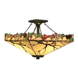 ARBOIS Arts and Crafts style Tiffany semi-flush ceiling light