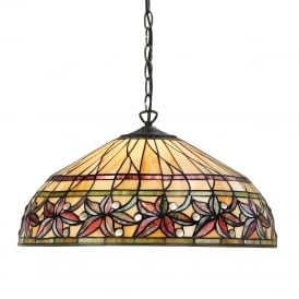 ASHTEAD large Tiffany ceiling pendant with floral shade on dark bronze fitting