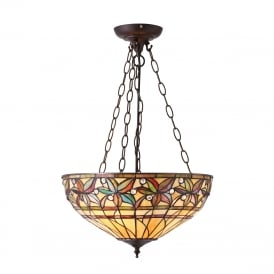 ASHTEAD Tiffany inverted ceiling pendant with floral shade on dark bronze fitting - large