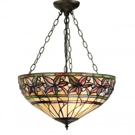ASHTEAD Tiffany inverted ceiling pendant with floral shade on dark bronze fitting - medium