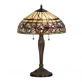 ASHTEAD Tiffany table lamp with autunmal floral pattern shade on dark bronze base - medium
