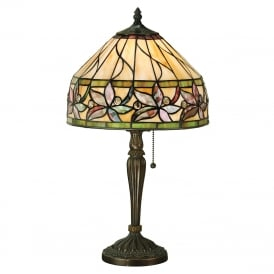 ASHTEAD Tiffany table lamp with autunmal floral pattern shade on dark bronze base - small