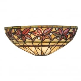 ASHTEAD Tiffany wall light with autunmal floral pattern shade
