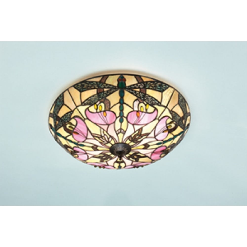 Ashton tiffany flush fitting ceiling light for low ceilings