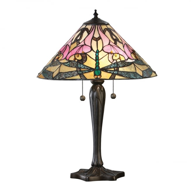 Kensington Tiffany Collection ASHTON Tiffany glass table lamp with dragonflies (large)