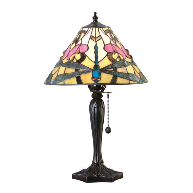 Kensington Tiffany Collection ASHTON Tiffany glass table lamp with dragonflies (small)