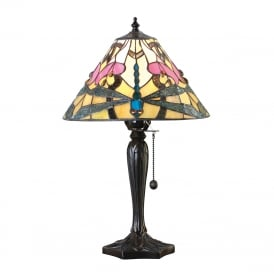 ASHTON Tiffany glass table lamp with dragonflies (small)