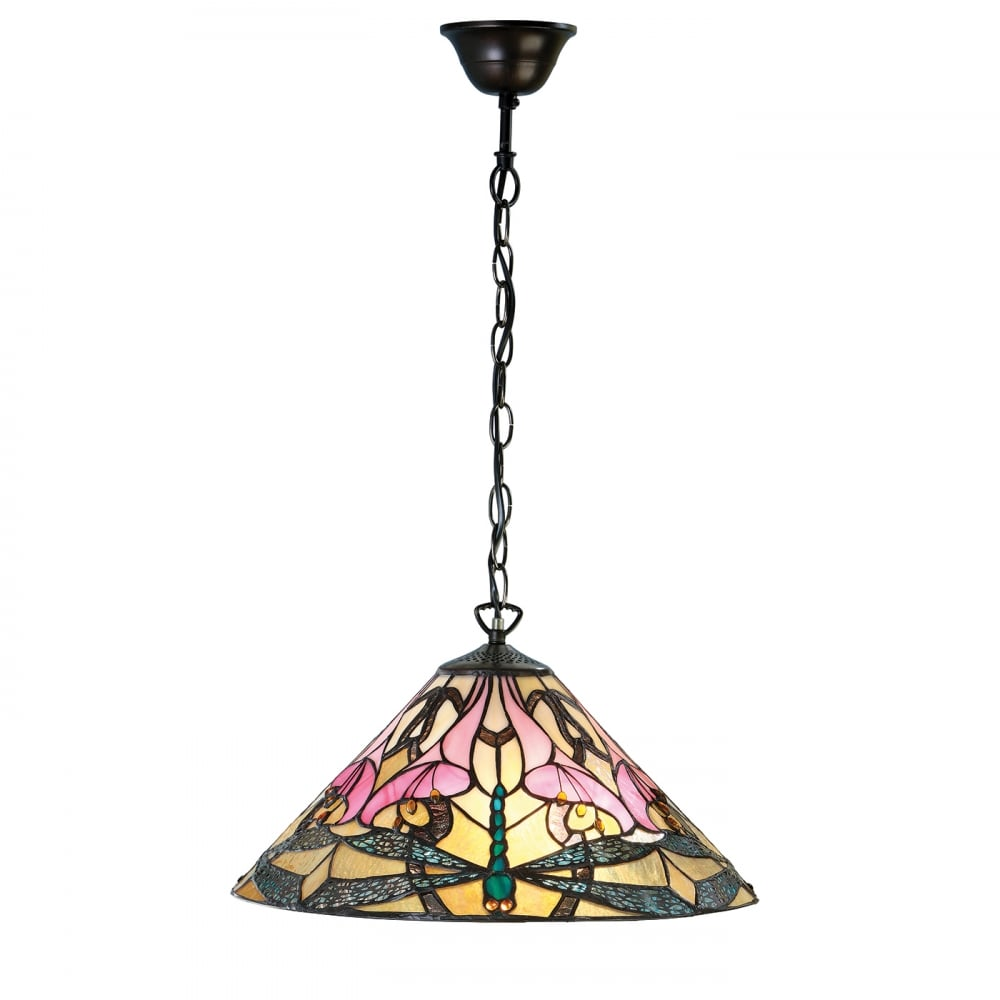 Tiffany Hanging Pendant Light With Soft Pink Floral