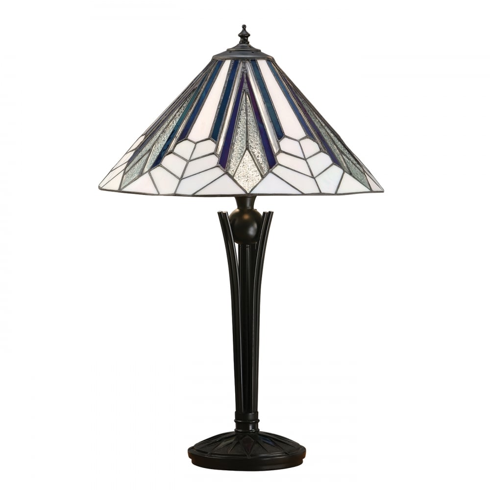 Art Deco Lamp Shades: Tiffany Art Deco Table Lamp With Stained Glass Shade On