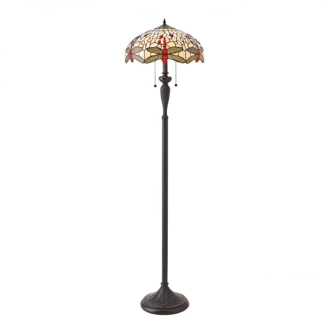 Kensington Tiffany Collection BEIGE DRAGONFLY floor lamp with Tiffany glass shade