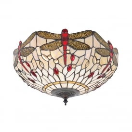BEIGE DRAGONFLY flush fitting Tiffany low ceiling light