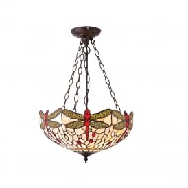 BEIGE DRAGONFLY inverted uplighter Tiffany ceiling pendant - medium