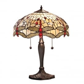 BEIGE DRAGONFLY large Tiffany table lamp