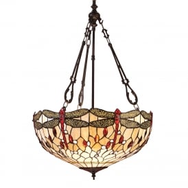 BEIGE DRAGONFLY large Tiffany upligher ceiling pendant light