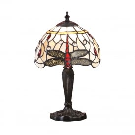 BEIGE DRAGONFLY mini Tiffany glass table lamp