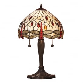 BEIGE DRAGONFLY Tiffany stained glass table lamp