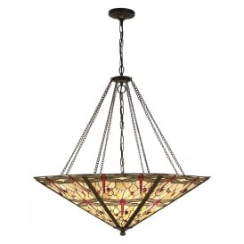 BEIGE DRAGONFLY very large Tiffany uplighter ceiling pendant