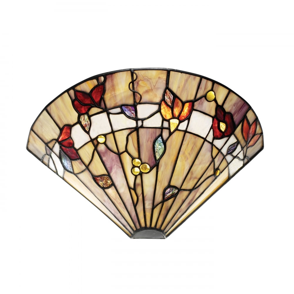 Tiffany Stained Glass Wall Washer Wall Light in Neutral Earth Colours