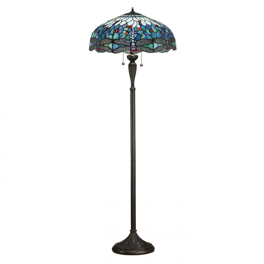 Blue Dragonfly Tiffany Floor Lamp With Art Glass Shade On
