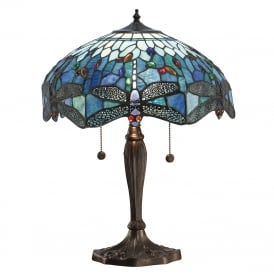 BLUE DRAGONFLY medium table lamp with Tiffany glass shade