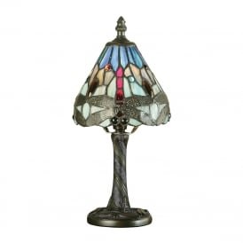 BLUE DRAGONFLY small mini Tiffany table lamp