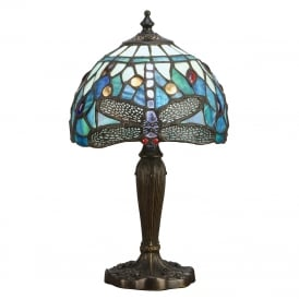 BLUE DRAGONFLY small table lamp with Tiffany glass shade
