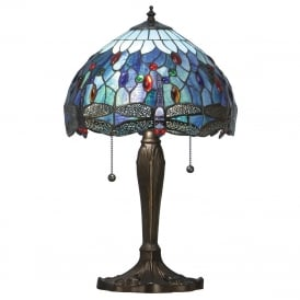 BLUE DRAGONFLY table lamp with Tiffany glass shade