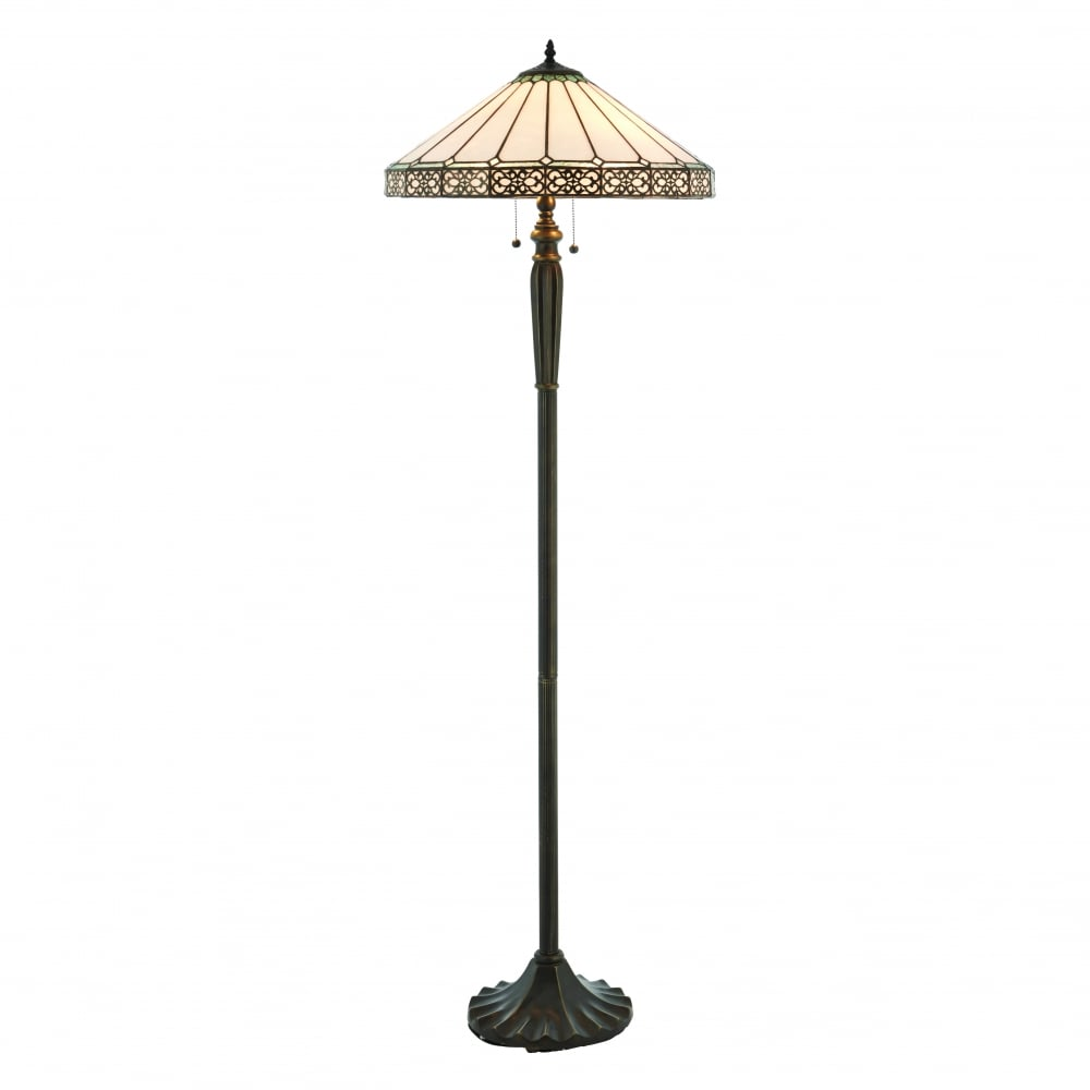 best service 69c06 93164 BOLEYN bronze base Tiffany standard lamp with filigree detaling