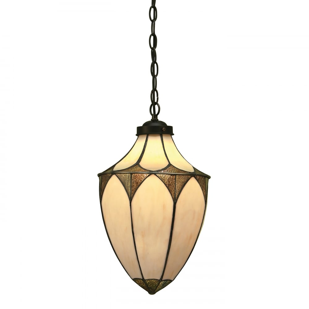 Tiffany Art Deco Hanging Lantern Textured Glass On Cream