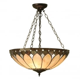 BROOKLYN large Tiffany Art Deco uplighter ceiling pendant