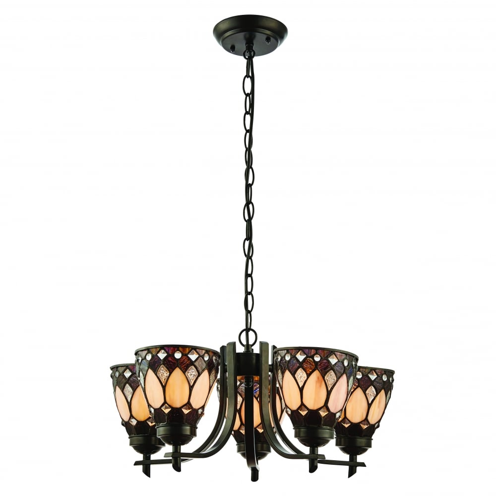 san francisco 1a708 05db2 BROOKLYN Tiffany Art Deco ceiling light with up-facing art glass shades