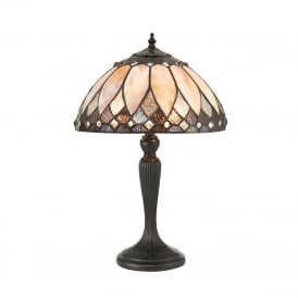 BROOKLYN Tiffany Art Deco small table lamp with bronze base