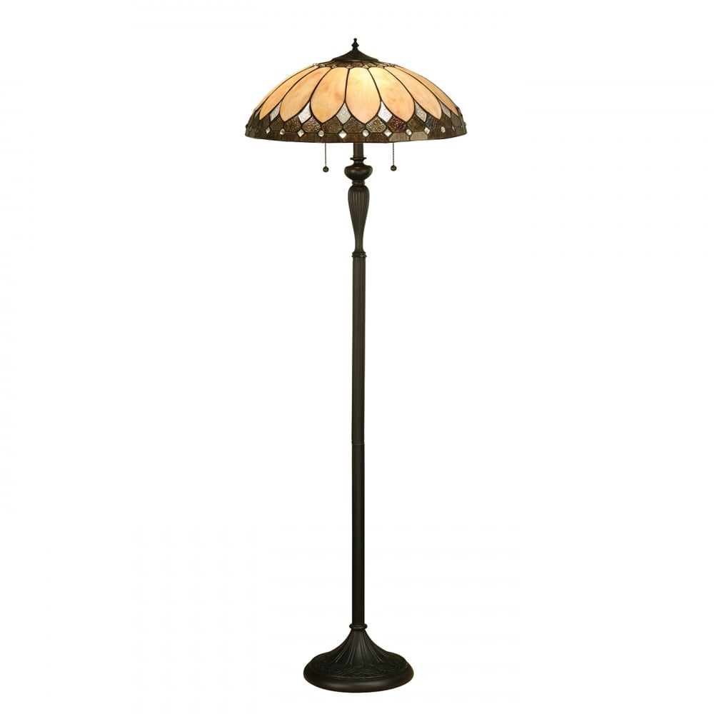 Tiffany stained glass standard floor lamp on dark antique base brooklyn tiffany art deco standard floor lamp mozeypictures Images