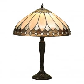 BROOKLYN Tiffany glass table lamp on dark antique base