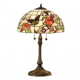 BUTTERFLY medium Tiffany table lamp with colourful butterflies and flowers
