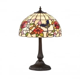 BUTTERFLY small Tiffany table lamp with colourful butterflies and flowers
