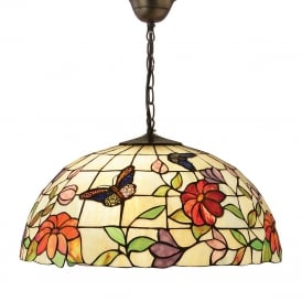 BUTTERFLY Tiffany ceiling pendant with colourful butterflies and flowers - large