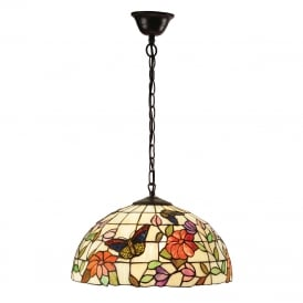 BUTTERFLY Tiffany ceiling pendant with colourful butterflies and flowers - medium