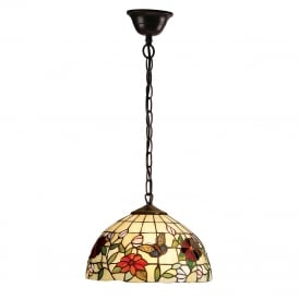 BUTTERFLY Tiffany ceiling pendant with colourful butterflies and flowers - small