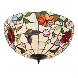 BUTTERFLY Tiffany flush fitting low ceiing light with colourful butterflies and flowers - large