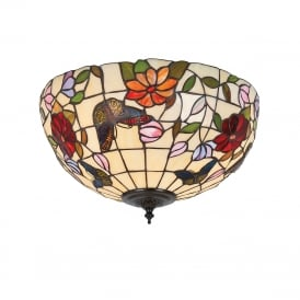 BUTTERFLY Tiffany flush fitting low ceiing light with colourful butterflies and flowers - medium