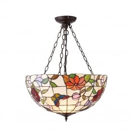 BUTTERFLY Tiffany uplighter ceiling pendant with colourful butterflies and flowers - large
