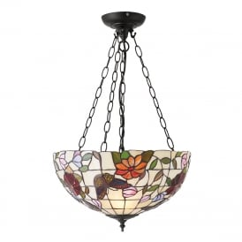 BUTTERFLY Tiffany uplighter ceiling pendant with colourful butterflies and flowers - medium