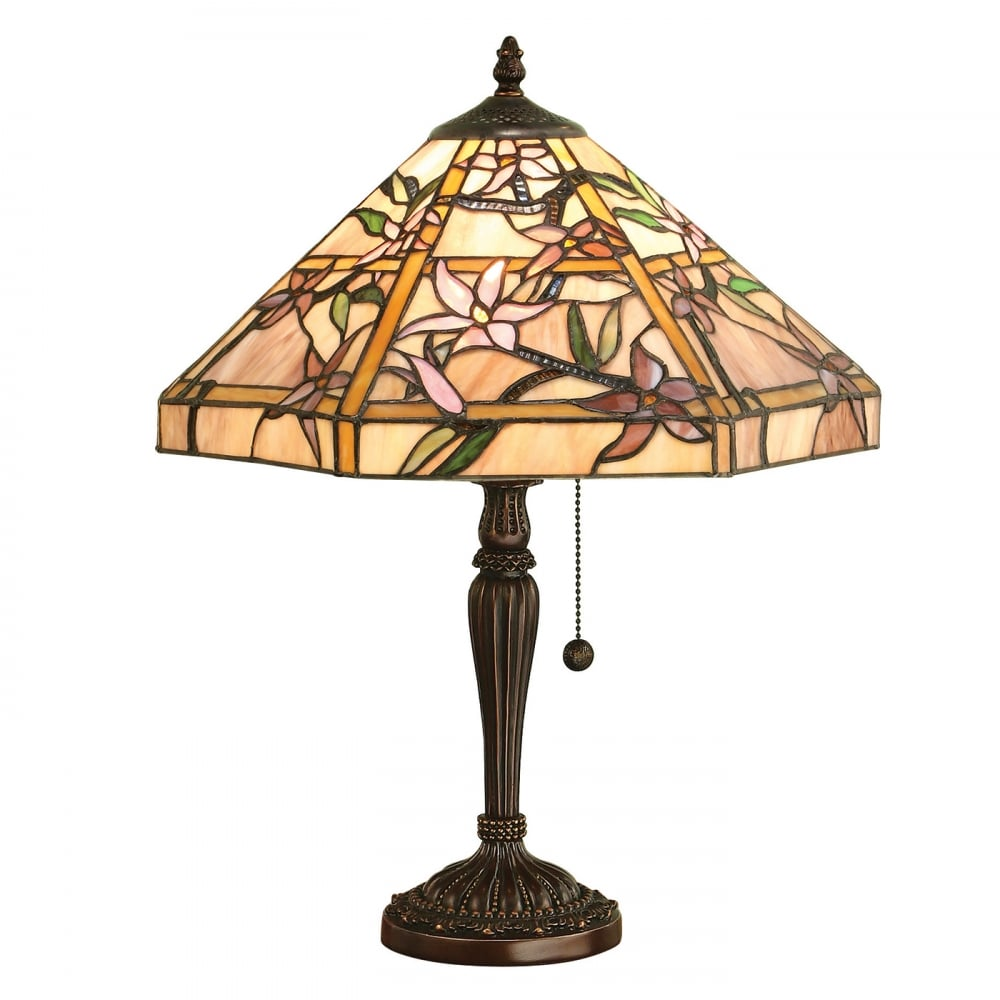 Beau CLEMATIS Table Lamp With Tiffany Glass Shade On Dark Bronze Base