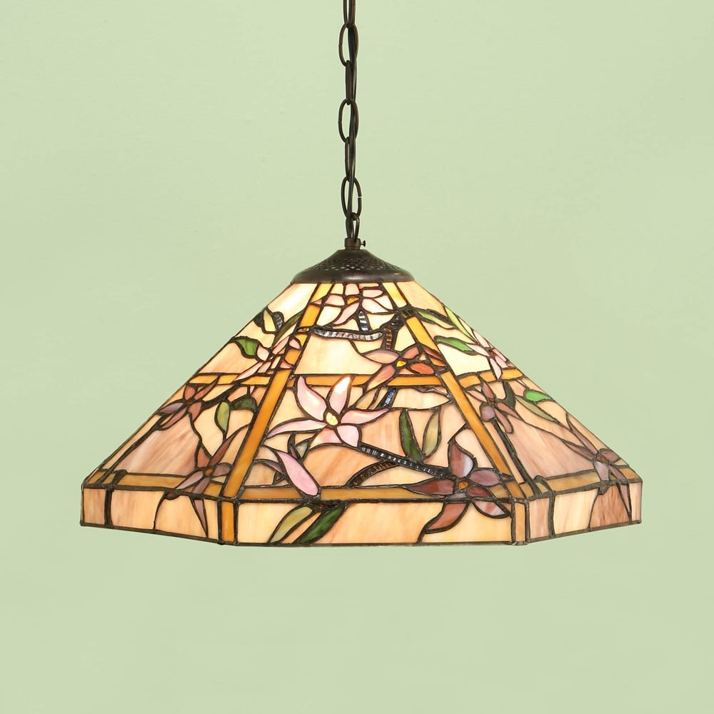 Suspension Tiffany tiffany ceiling light decorated with pink and purple clematis flowers