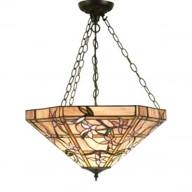 CLEMATIS Tiffany inverted uplighter ceiling pendant on dark bronze suspension