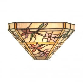 CLEMATIS wall washer light with floral Tiffany glass shade